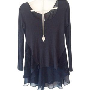 NWT Free People Lace High Low Black Blouse size XS